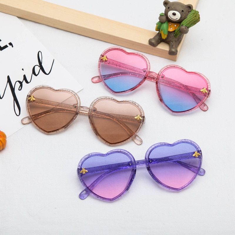 2021new Kids Sunglasses Children Retro Cute Cartoon Bee Pink Sun Glasses Frame Girls Boys Baby Eyegl