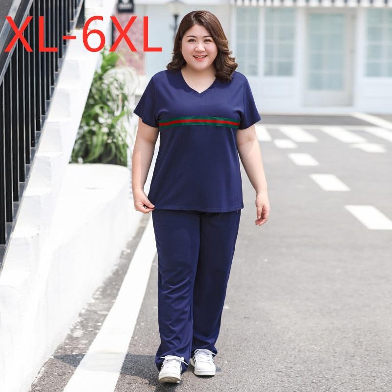 بدلة رياضية صيفية للنساء ، ملابس رياضية ، أكمام قصيرة ، تي شيرت أزرق فضفاض وسراويل طويلة ، مجموعات التدريب 3XL 4XL 5XL 6XL