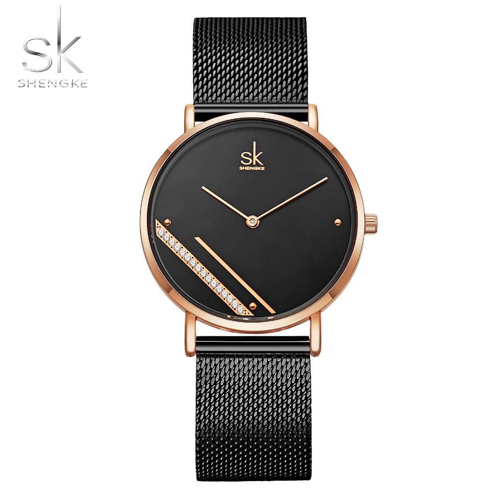 Relojes Shengke de lujo para Mujer, esfera de cristal negro, relojes de cuarzo para Mujer, regalo de correa de malla para Mujer