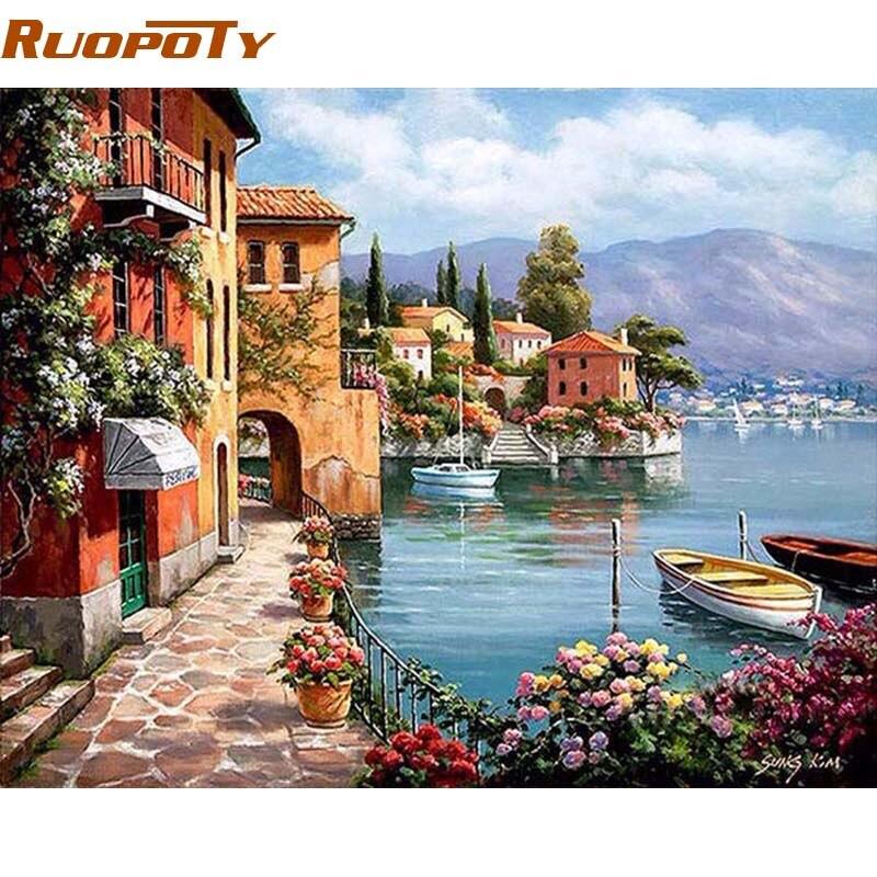 Ruopoty Венеция курорты морской DIY живопись по номерам расписанную маслом Гостиная дома Декор стены Работа 40x50 см