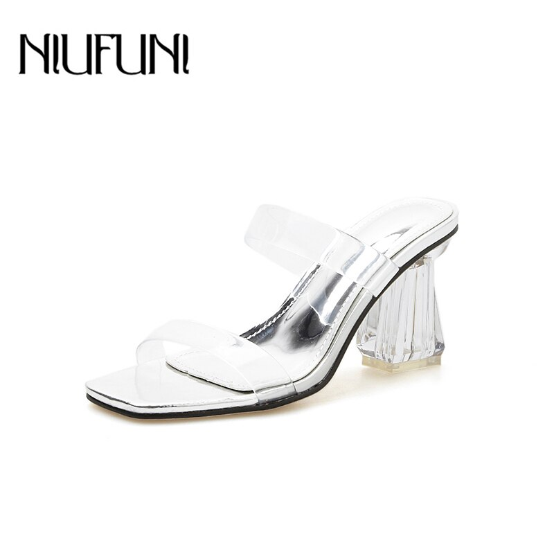 Cristal cuadrado dedo del pie NIUFUNI 2020 PU claro mujeres Sandalias Sexy transparente tacones altos fiesta Sandalias Mujer Zapatos