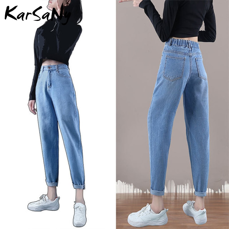 KarSaNy 2019 Ripped Jeans Boyfriend For Women Denim Pants White Women's Straight Baggy Black Jeans With High Waist Autumn Winter