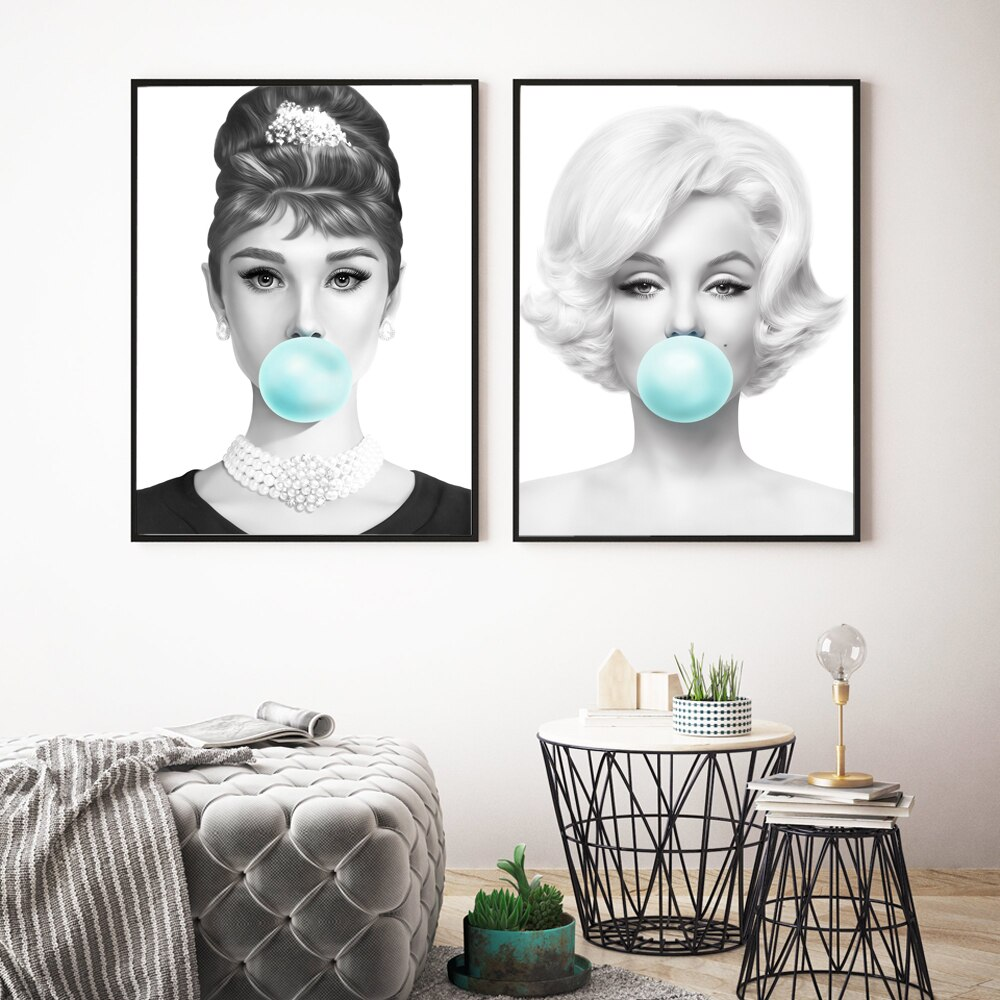 Pósters e impresiones de Marilyn Monroe goma de mascar verde lienzo impresión pared arte cuadro Audrey Hepburn pintura para sala de estar