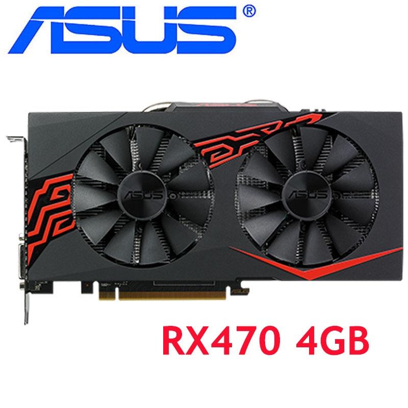 Scheda Video ASUS RX 470 4GB 256Bit GDDR5 schede grafiche per schede VGA AMD RX serie 400 RX470 4GB DisplayPort 570 580 480 usato