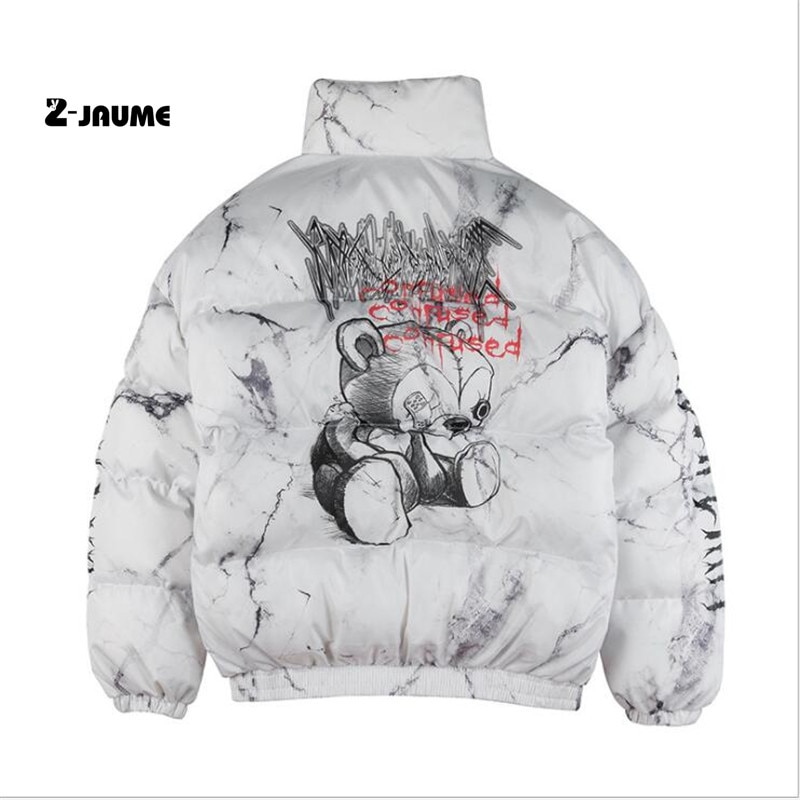 Парка мужская горячая Распродажа с принтом медведя, зимняя ветровка в стиле хип-хоп, уличная одежда в стиле Харадзюку с подкладкой, теплая в...
