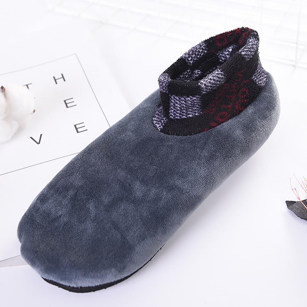 Мужчины зима леопард принт нескользящий двойной слой плюш утолщение теплый пол носки
