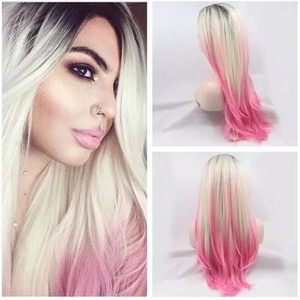 Synthetic Lace Front Wig Hot Light Pink Straight Blonde Ombre Lolita Wigs For Black Women Cosplay Frontal Glueless Long Wavy
