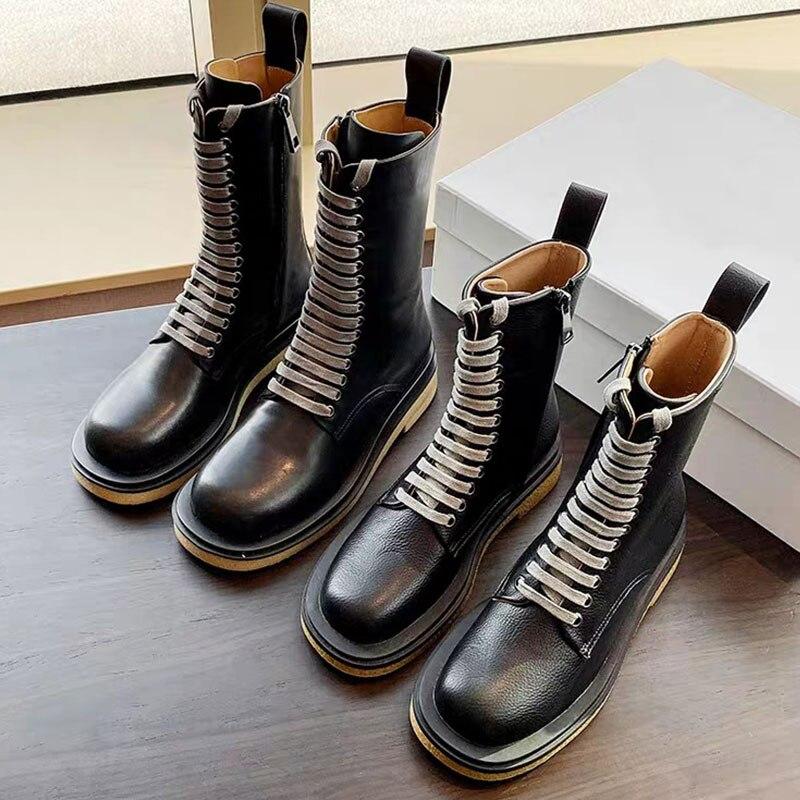 2020 novo estilo britânico chunky botas de combate rendas-up botas bonito de sola grossa mid-tube botas curtas para mulher plataforma sapatos planos
