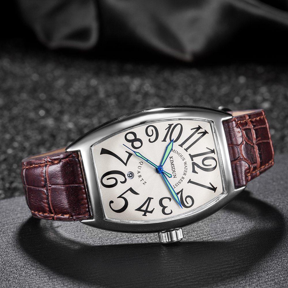 KIMSDUN Tonneau Quarzuhr Männer Luxus Marke Wasserdichte Platz Business Leder Armbanduhr für Männer Uhr Männlichen Erkek Kol Saati