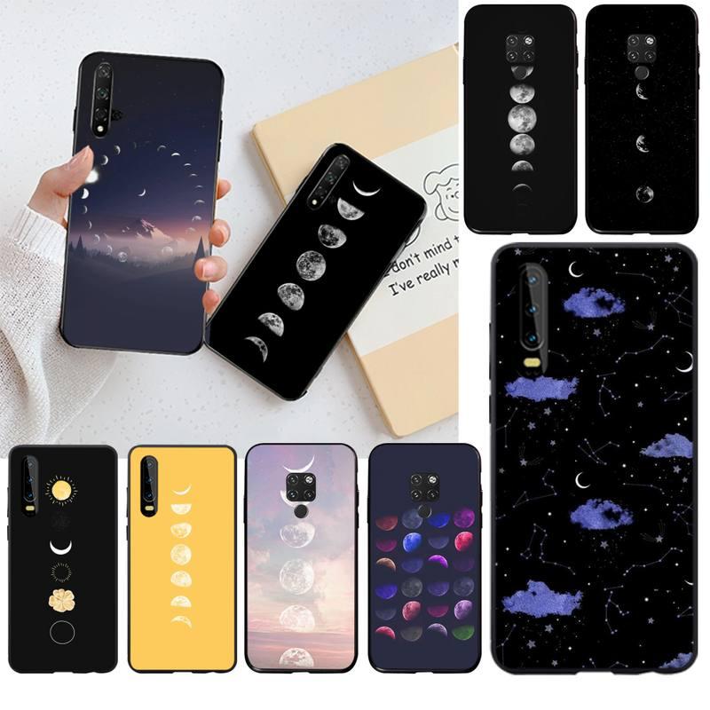 Funda HPCHCJHM Moonlight Moon fases negro Funda de teléfono de TPU blanda para Huawei P40 P30 P20 lite Pro Mate 20 Pro P Smart 2019 prime