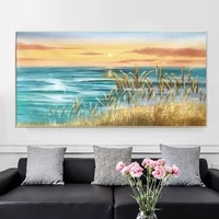 hot sale coastline sunrise means success and vigor modern 100hand painted oil painting plant sage canvas painting wall art sea