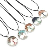 small necklace natural stone round transparent gravel pendant necklace for ms banquet party wedding charm jewelry gift 33x33mm