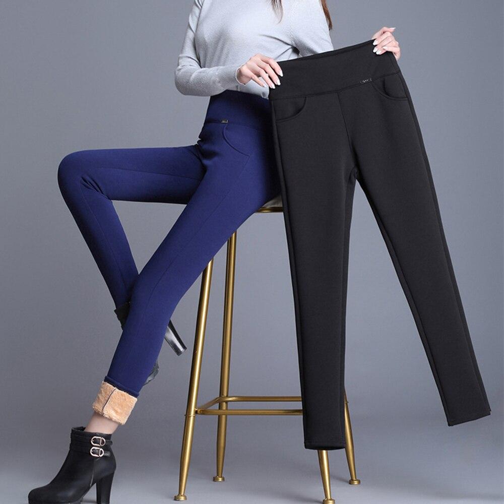 Pantalones de cachemir para mujer Pantalones calientes de terciopelo de piel de cordero de lana gruesa negra de invierno niñas lápiz pantalón Droshipping HX1106
