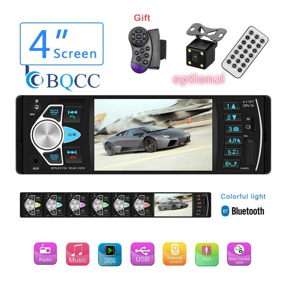 "1DIN Bluetooth estéreo para coche 4,1 ""reproductor MP5 tarjeta USB TF U disco AUX Radio FM autorradio + Cámara"