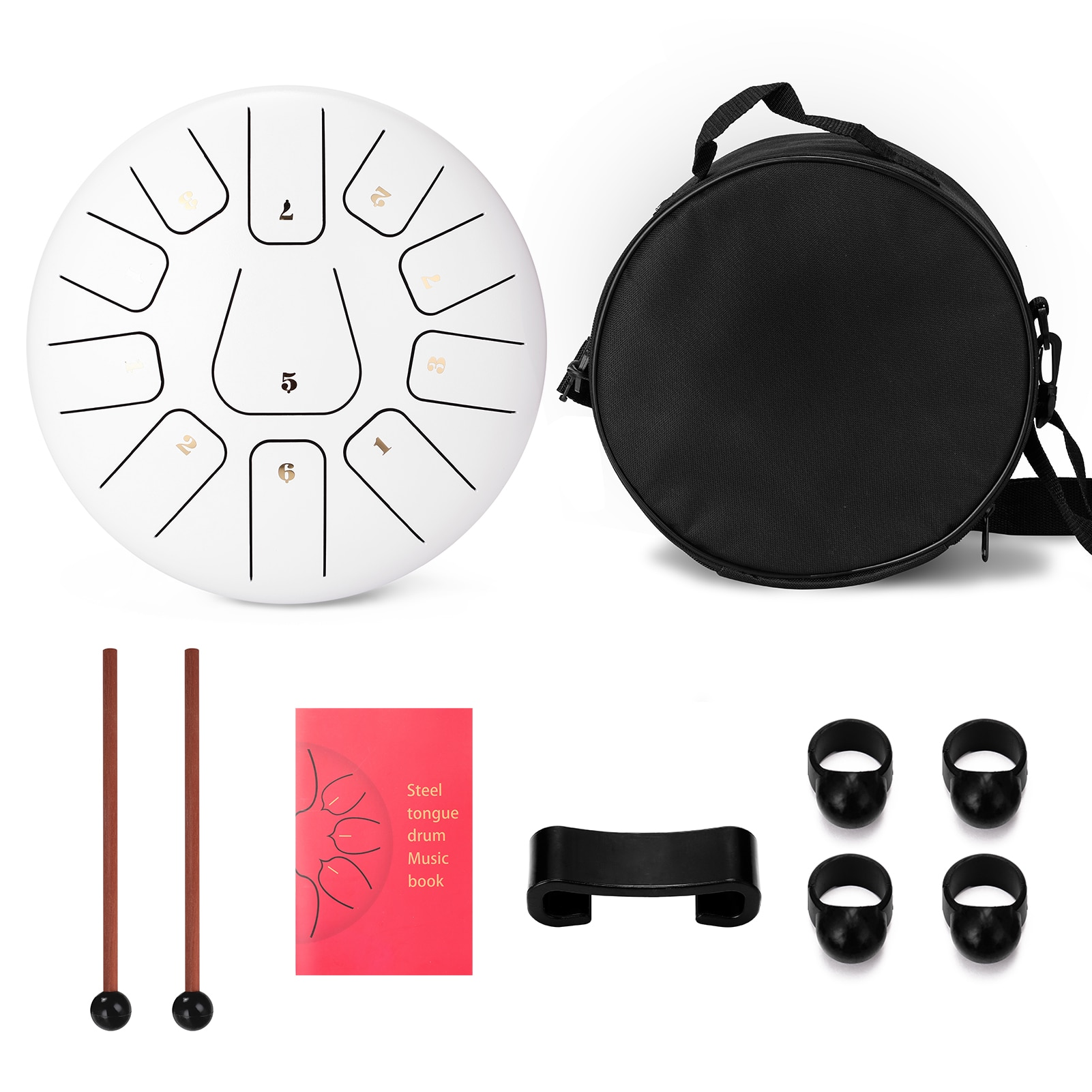 10 inch 11-Tone Steel Tongue Drum Hand Pan Drums with Drumsticks Percussion Musical Instruments