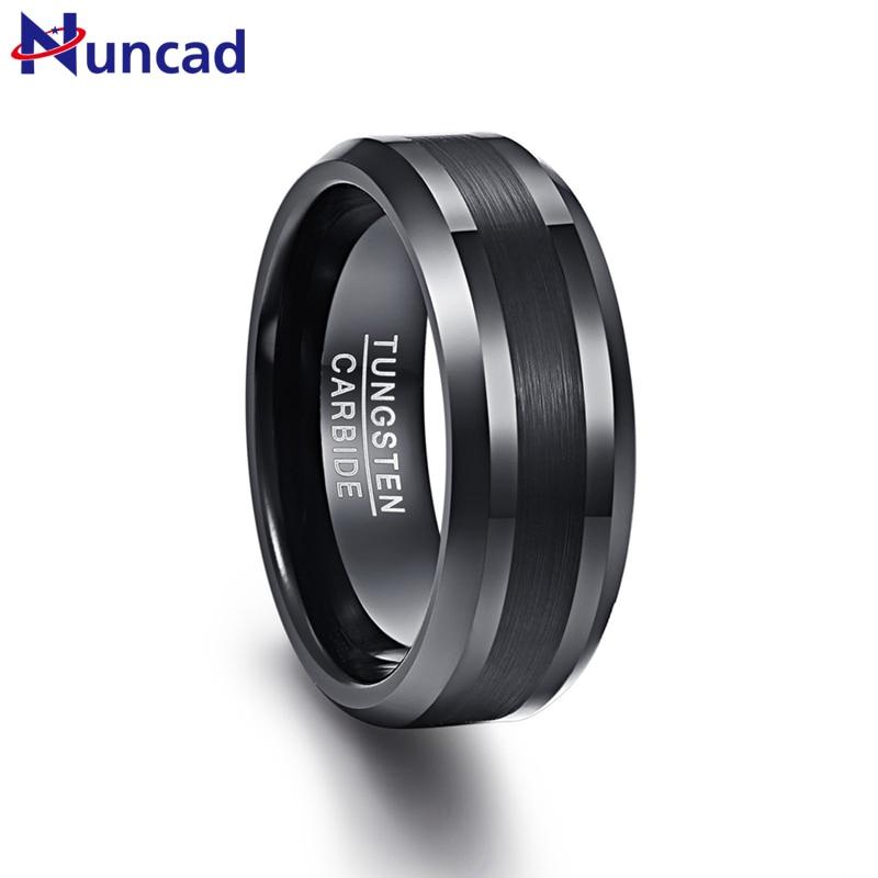 NUNCAD 8mm Tungsten Carbide Ring Black Wedding Engagement Band Brushed Center Men's Ring Beveled Edge Comfort Fit Size 7-12