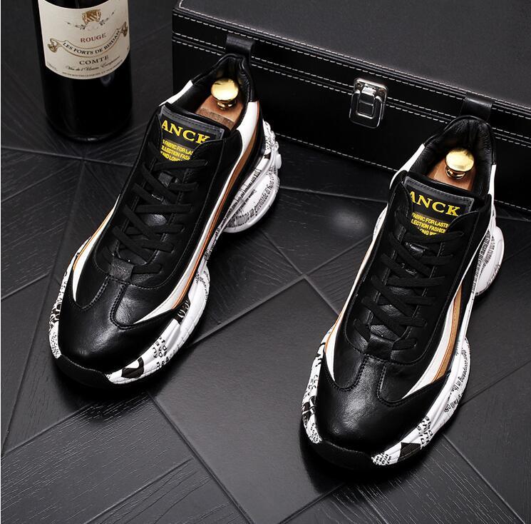 Zapatos planos de plataforma para hombre, zapatillas cómodas con suela de texto...