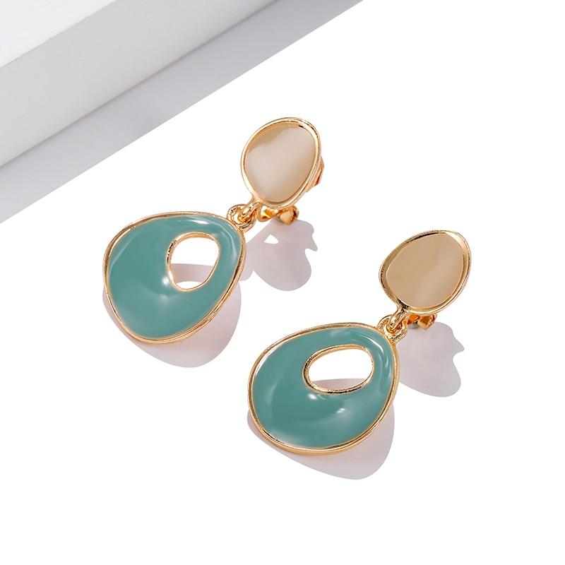 AliExpress - New Design Sweet Enamel Clip On Earring Irregular Geometric Oval Round Ear Clips No Pierced for Women Jewelry Elegant Pendientes
