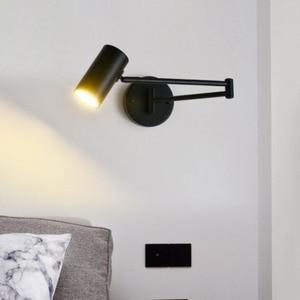 Black Post-modern Swimming Arm Wall Lamp Rotatable Long Arm Reading Lights Adjustable Indoor Bedroom Living room Wall lamp