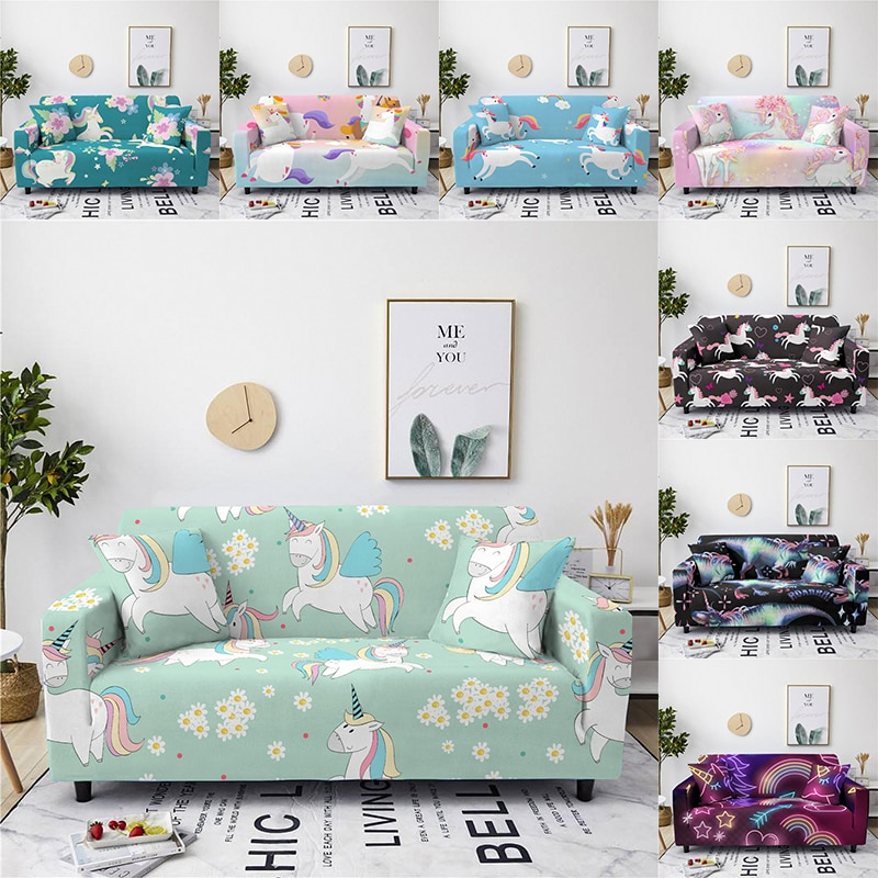 أغطية صوفا قابلة للتمدد ، وحيد القرن ، شامل ، لغرفة المعيشة ، كرسي على شكل حرف L ، ديكور منزلي