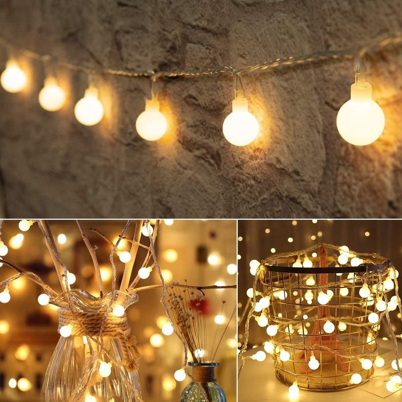 LED Round Ball Garland Lights Battery Powered Fairy String Lights Lamp for Bedroom Garden Outdoor Wedding Christmas Party Decors 3m globe led garland starry crystal wishing ball string lights decors for curtains bedroom living room balcony christmas wedding