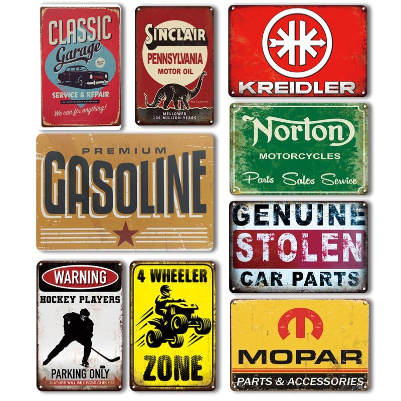 El coche de gasolina Metal placa letrero Vintage puerta de garaje decoración signos Retro Norton motocicletas PLACA de Metal estaño signo mural artístico para el hogar Decoración