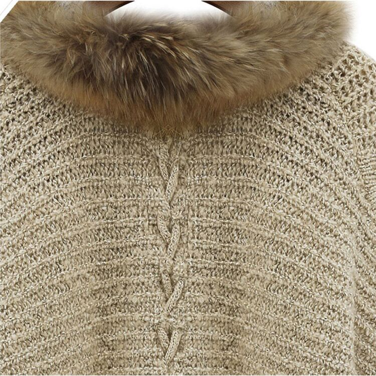 European and American Style Knitted Cardigan Women's Autumn and Winter New Loose and Idle Shawl Batwing Sleeve Big Fur Collar enlarge