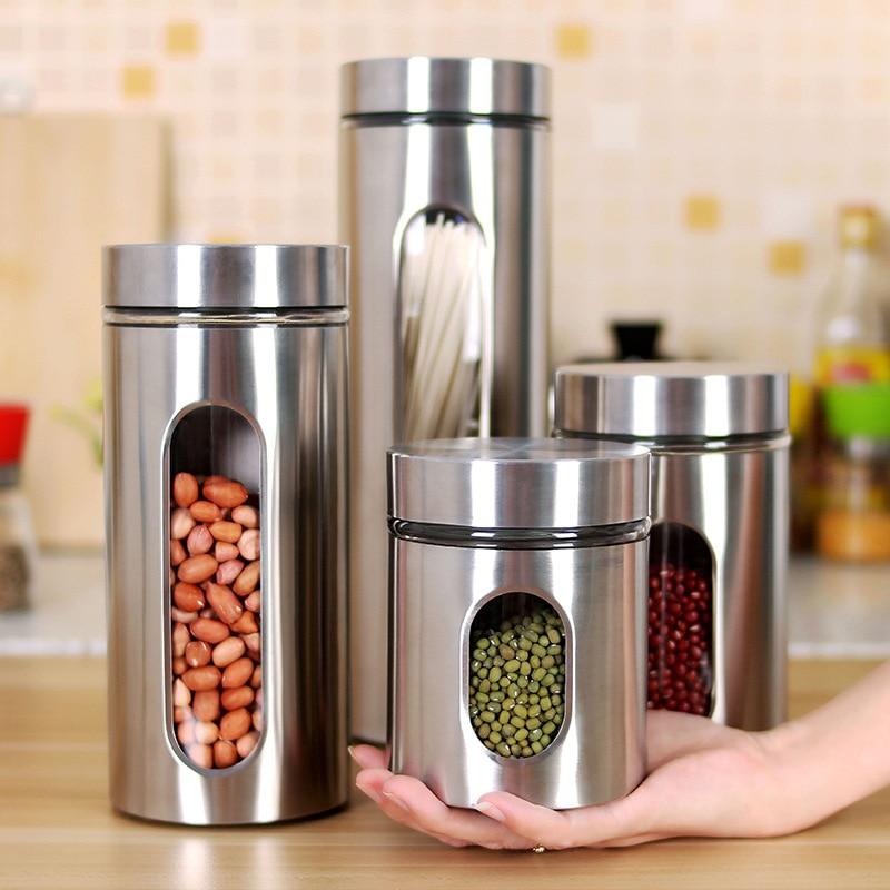 Recipiente hermético de acero inoxidable para cocina, sellado, para café en lata, harina, azúcar, recipiente, frasco de botellas de almacenamiento para granos de café
