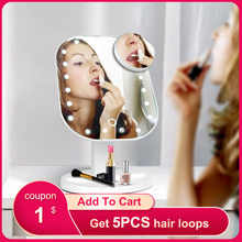 Makeup Mirror With 10X Magnification Touch Control Adjustable LED Lights 180 Rotation Multi-function Portable For Girl Gift