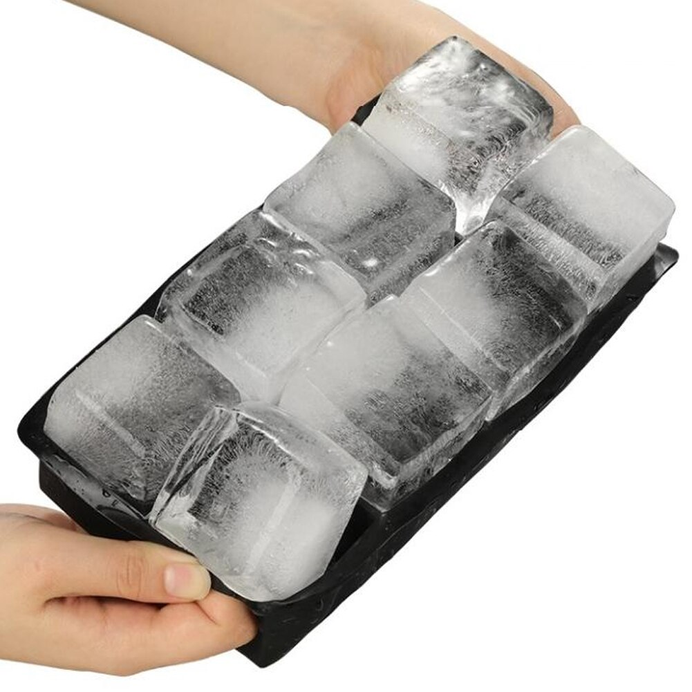 Bandeja de hielo de silicona de 8 rejillas con tapa DIY fabricante de cubitos de hielo cuadrados para Pudding Whiskey Maker Popsicle Kichen Accesorios