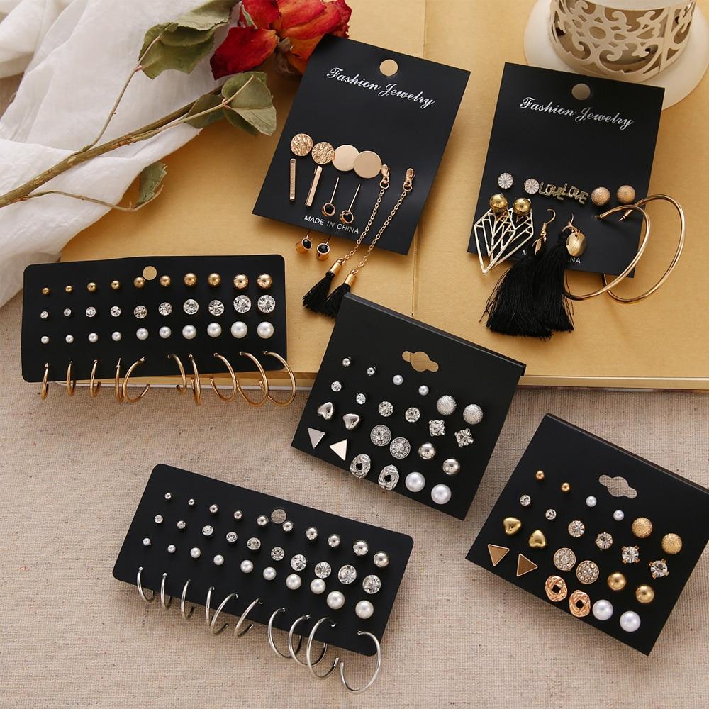 12 пари цветних женских минђуша постављених у бисерним минђушама са кристалним клинцима геометријске минђуше са ресицама за жене