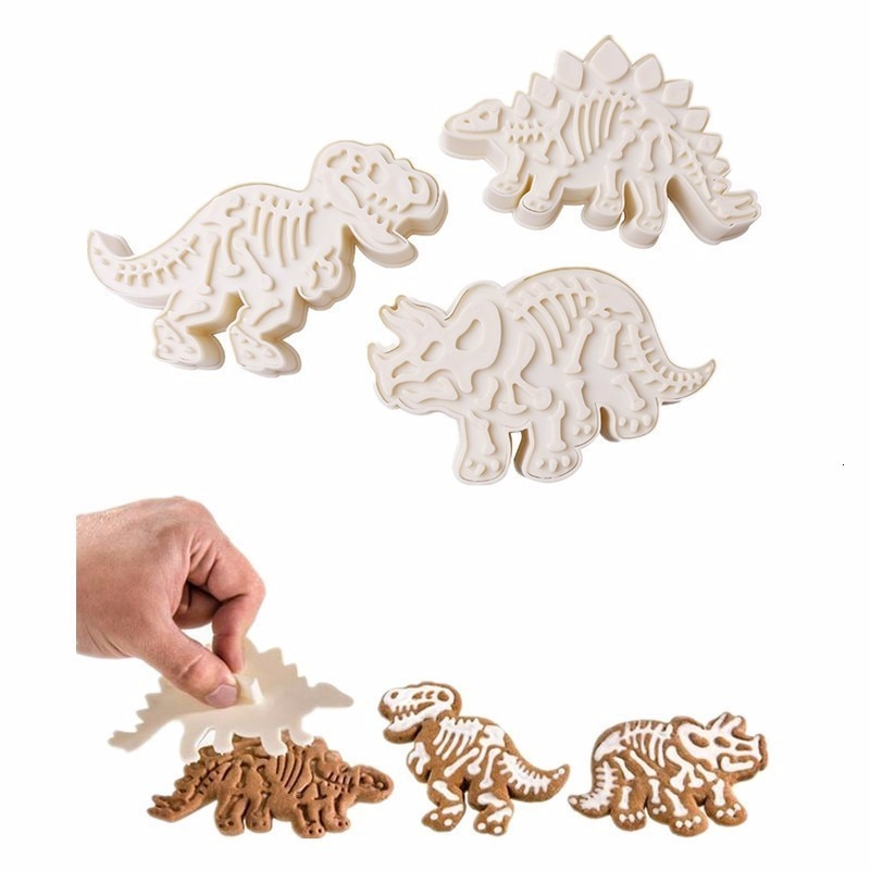3D Dinosaur Cookies Cutter Mold Biscuit Embossing Mould Sugarcraft Dessert Baking For Sop Cookie Tools