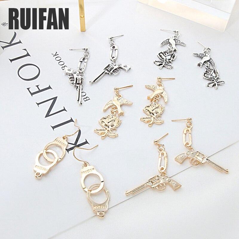 Ruifan europa estilo punk legal punho/pistola/pistola/flor forma brincos para as mulheres longo gota brinco jóias presente yea314
