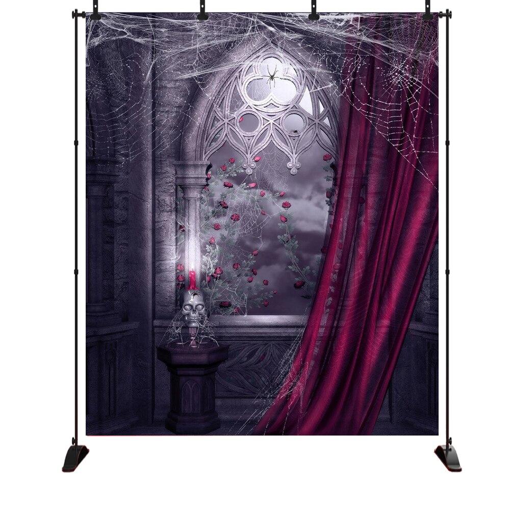 Telón de fondo de Halloween para fotografía Castillo de terror cortinas rojas oscuras esqueleto soporte de lámpara telón de fondo foto fondos estudio
