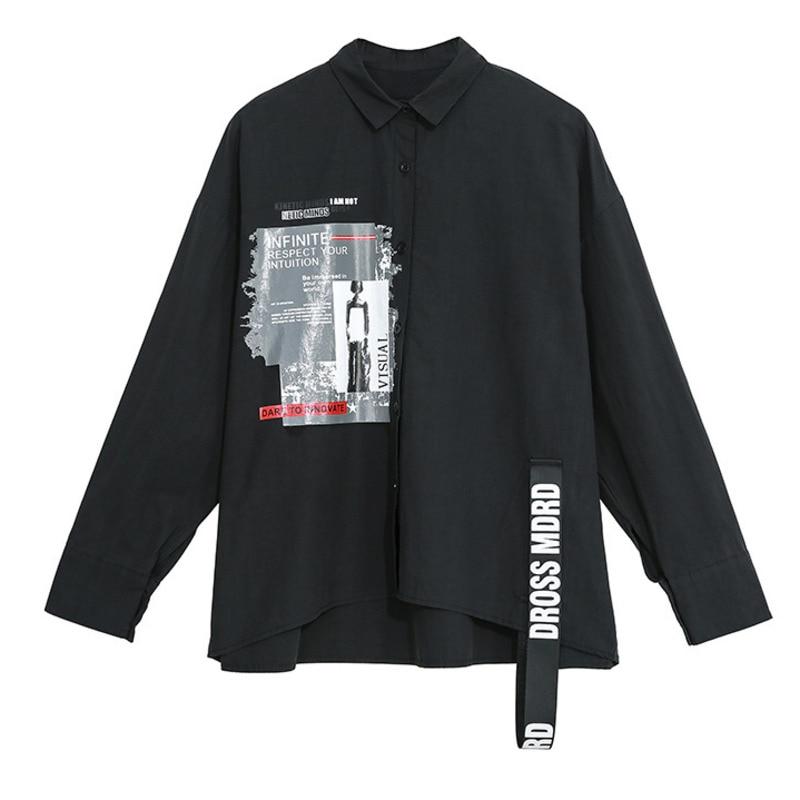 LANMREM 2020 Primavera Verano fahion carta de impresión de manga larga Irregular camisa negro de talla grande blusa blanca mujeres personalidad YH724