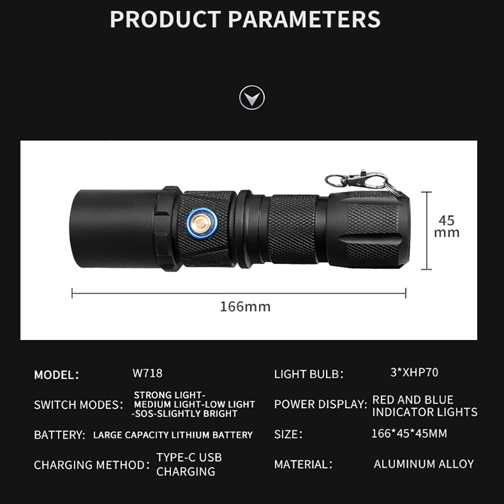 XHP70.2 LED Flashlight USB Rechargeable Flashlight Zoomable Torch XHP70 LED Torch Camping Hand Light Powerd by 26650 Battery enlarge