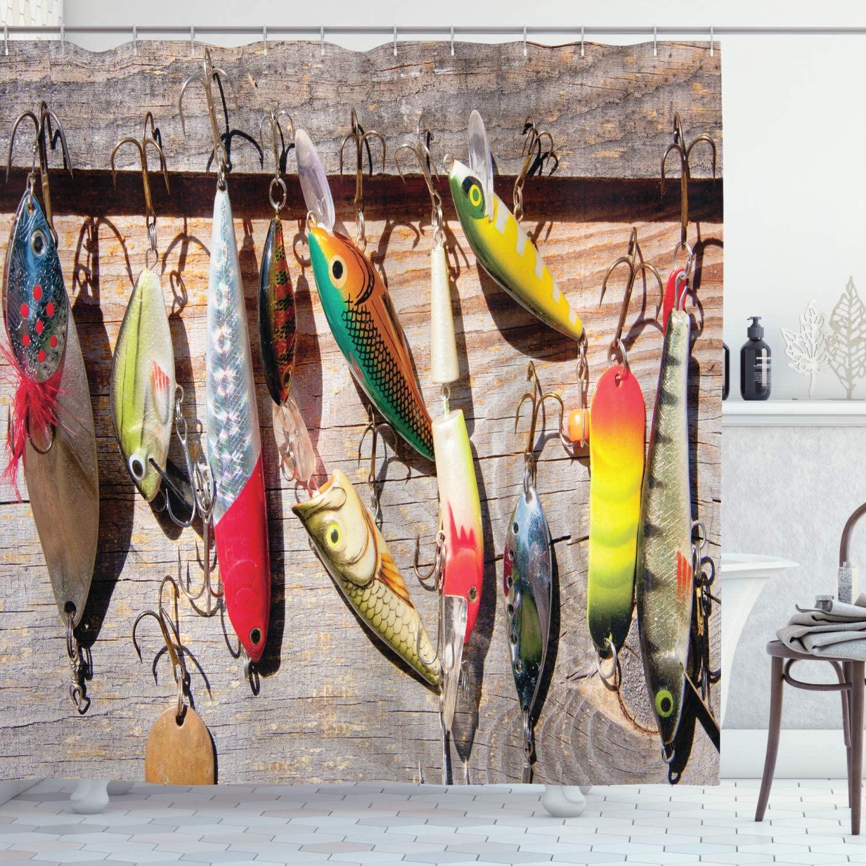 Cortina de ducha de peces patrón de cebo en tablas rústicas pesca temática fotografía Hobby ilustración al aire libre conjunto de decoración para el baño