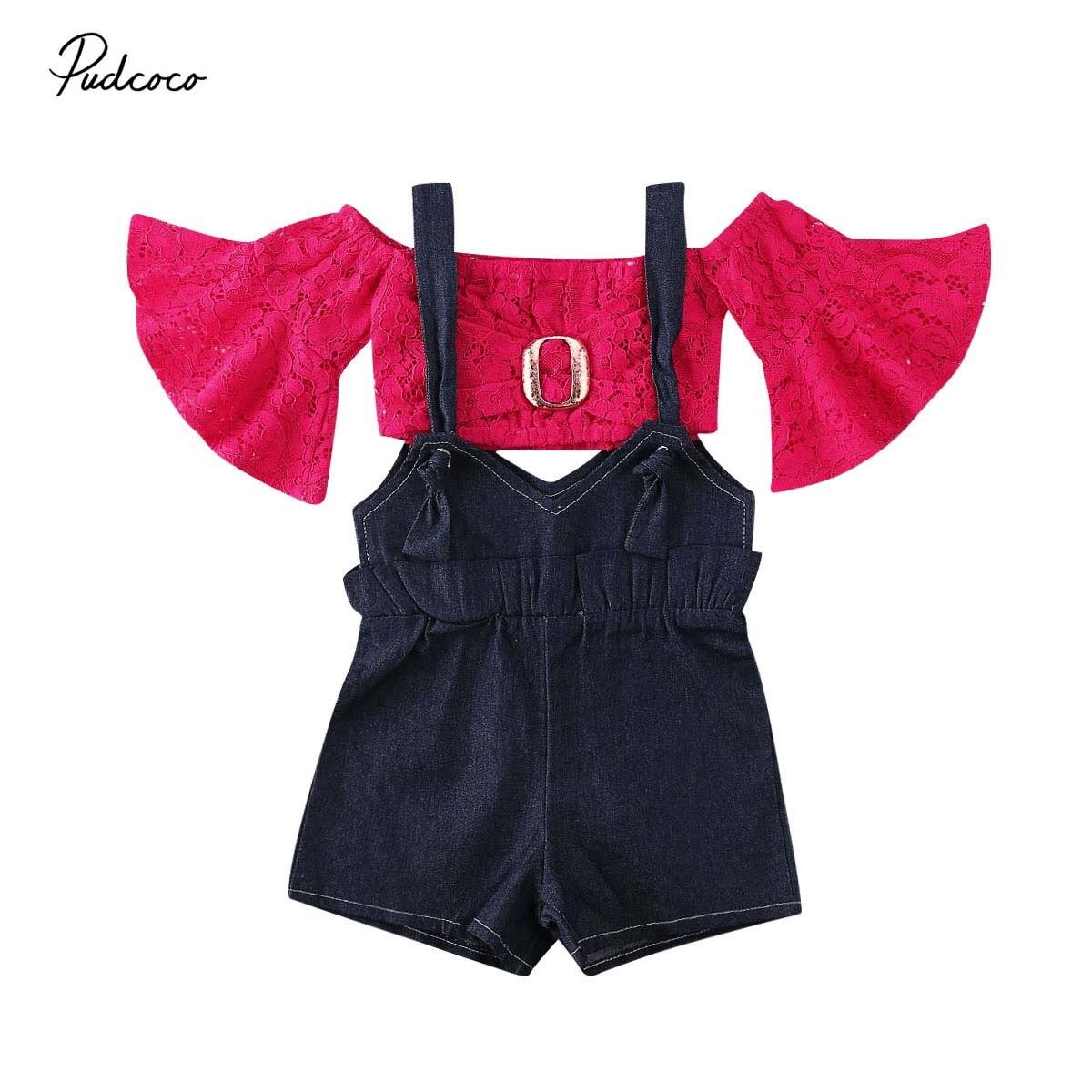 2020 conjuntos de ropa para niñas pequeñas de moda de encaje Floral camiseta de tubo Rosa pantalones cortos de mezclilla con babero trajes para niños 2 uds