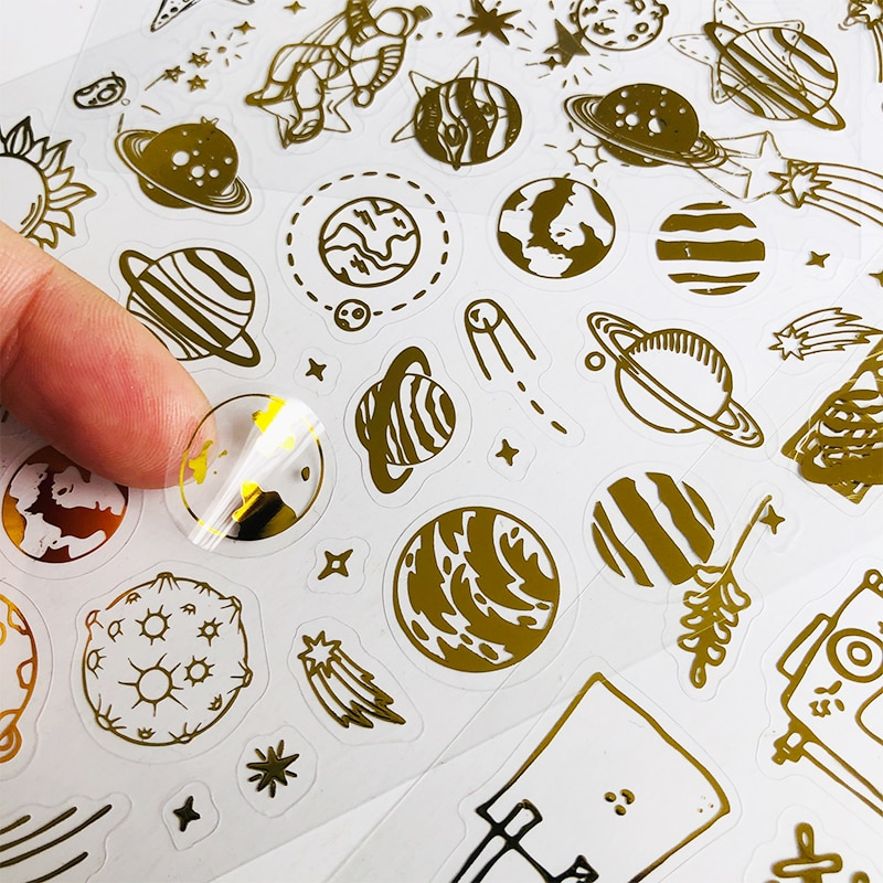 aliexpress.com - 1 Sheets Golden Foilded Beautiful Stars and Planets Paper Sticker Notebook Computer Phone DIY Decorative Stickers