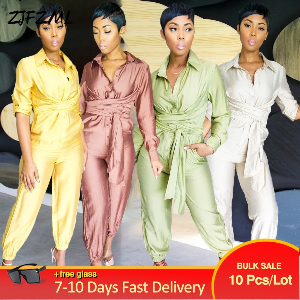 Bulk Items Wholesale Lots Solid Draped Buttons Up Bandage Women Long Jumpsuits Full Sleeve Side Pocket Turn Down Collar Romper