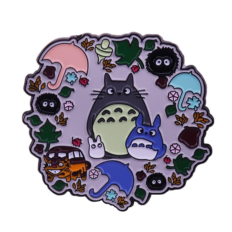 Totoro woodland wreath enamel pin Kawaii anime fans decor