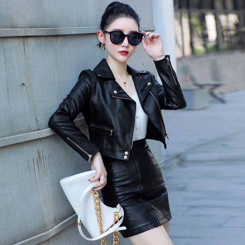 Female Black Punk Bomber Faux Leather Outwear spring  Blazer 2021 New Autumn Women Pu Leather Jacket Woman Zipper Short Coat enlarge