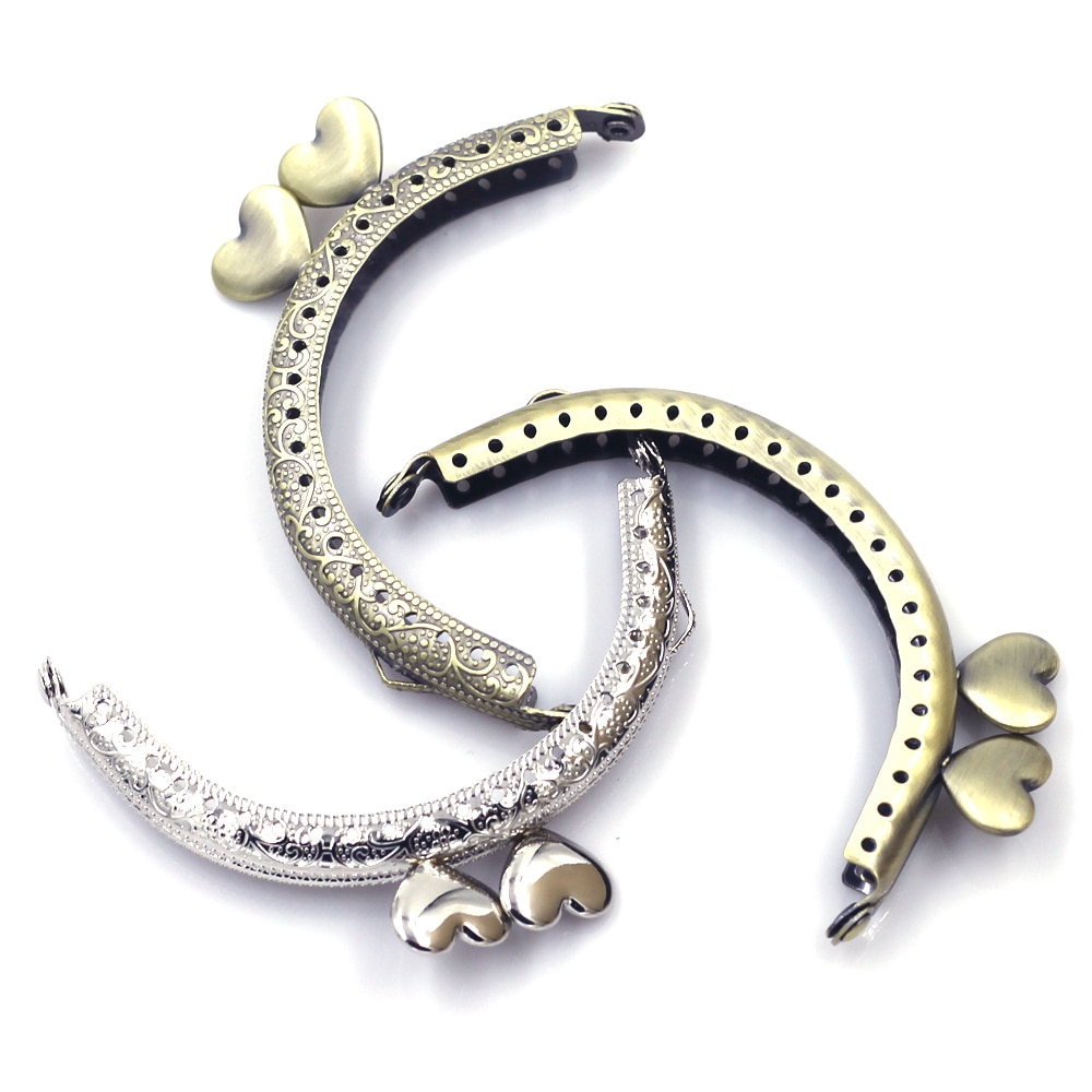 10PCS Mixed Random 8.5cm Arch Purse Frames Kiss Clasps Clutch Buckle Heart Head Crafts Accessories Handbag Handle Hardware