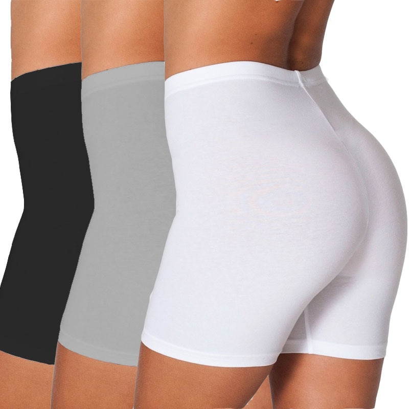 2020 Plus Size Women Elastic Shorts Casual High Waist Tight Fitness Slim Skinny Bottoms Summer Solid  White Black Shorts
