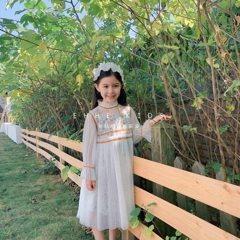 Vestidos para niñas 2020, nueva moda de primavera y otoño, estilo occidental, ropa para niños, vestido grande de princesa de hilo de red, dos vestidos