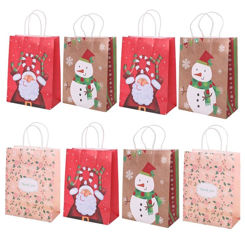Portable natal presente suportes tote bags kraft papel presente que envolve sacos recipientes para festa festiva fontes