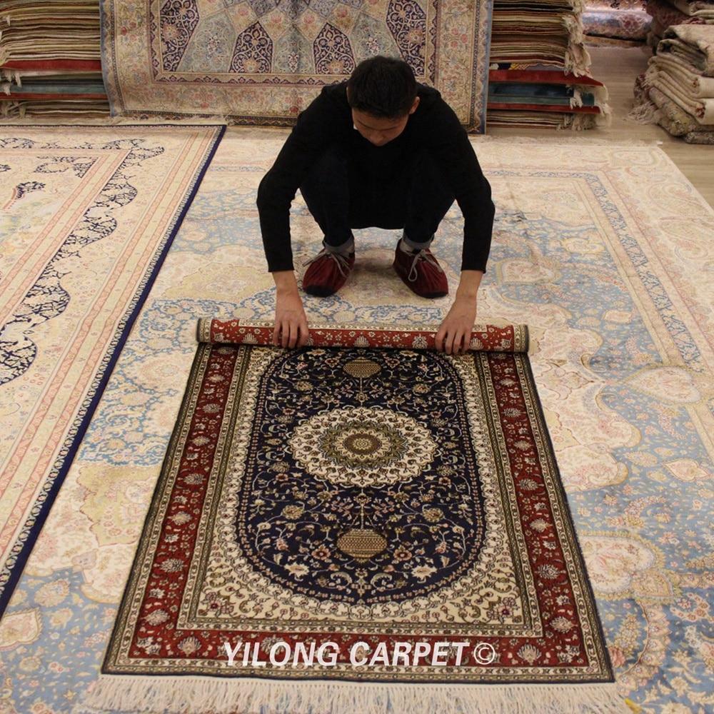 Yilong 3 x x 5 rug mão atada tradicional seda persa tapetes caxemira medalhão tapete (lh862b)