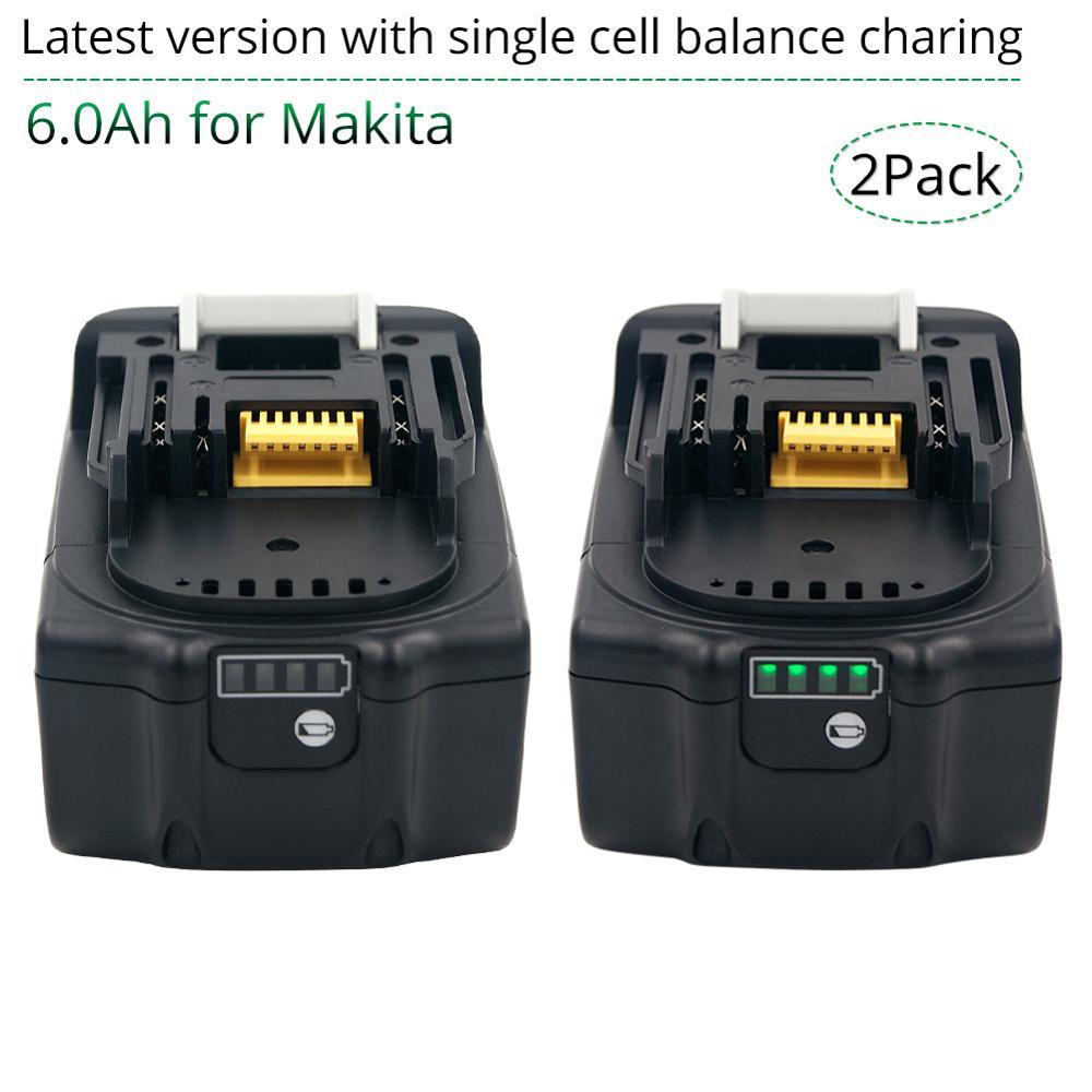 2 шт. 18В 6000 мАч перезаряжаемый аккумулятор для Makita 18В BL1830B BL1860B BL1840B BL1815 LXT-400