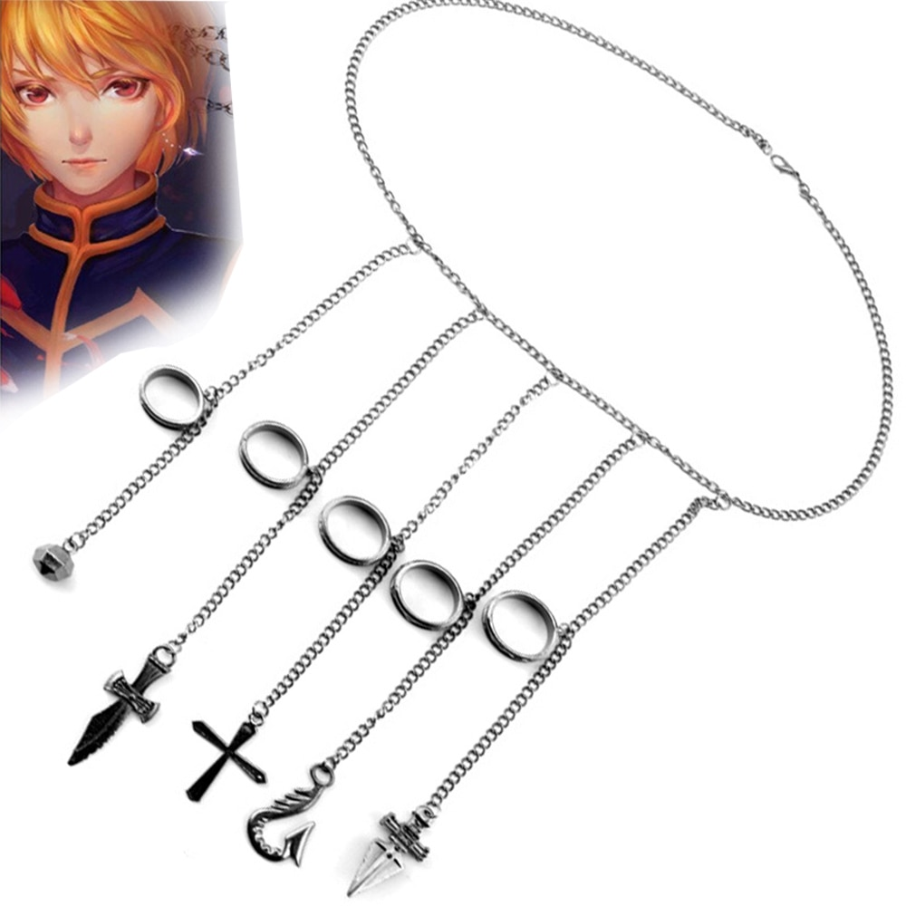Cartoon Hunter x Hunter rings Kurapika cosplay costume prop metal ring Accessories alloy pendant chain figerrings for anime fans