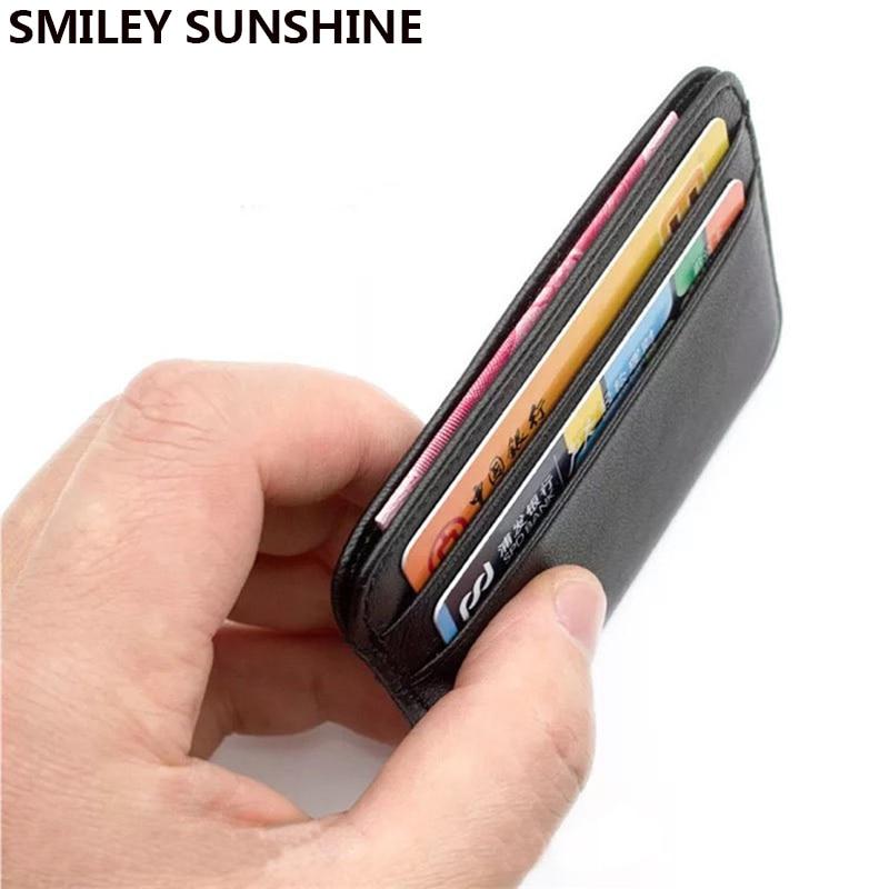 SMILEY SUNSHINE genuine leather card holder men women business card id holder credit card case wallet for cardholder porte carte